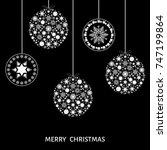 christmas white  tree... | Shutterstock .eps vector #747199864