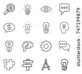 thin line icon set   dollar... | Shutterstock .eps vector #747199879