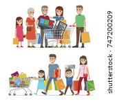 families shopping concept ... | Shutterstock . vector #747200209