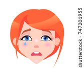 woman crying face with pink... | Shutterstock . vector #747201955