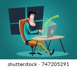 guy working on a laptop. work... | Shutterstock .eps vector #747205291