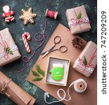 process of packing boxes with... | Shutterstock . vector #747209209