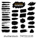 brush strokes set. paintbrush... | Shutterstock .eps vector #747211135