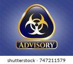 shiny badge with biohazard... | Shutterstock .eps vector #747211579