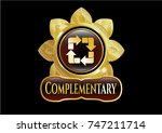 gold shiny emblem with recycle ... | Shutterstock .eps vector #747211714