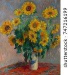 bouquet of sunflowers  by... | Shutterstock . vector #747216199