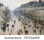 boulevard montmartre on winter... | Shutterstock . vector #747216349