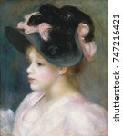 Young Girl in a Pink-and-Black Hat, by Auguste Renoir, 1891, French impressionist oil painting. Renoir painted many portraits of women in the extravagant hats of the 1890s