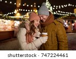 winter holidays  hot drinks and ... | Shutterstock . vector #747224461