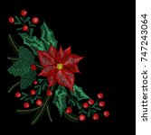 christmas embroidery patch ... | Shutterstock .eps vector #747243064