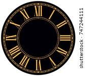 roman numeral wall o clock... | Shutterstock . vector #747244111