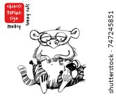 monkey.funny cats as chinese... | Shutterstock .eps vector #747245851