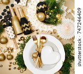 christmas table setting. gold...   Shutterstock . vector #747246409