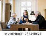 grandfather and grandchildren...   Shutterstock . vector #747248629