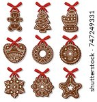 new year ginger biscuits ... | Shutterstock .eps vector #747249331