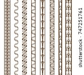 set of vertical ornamental... | Shutterstock .eps vector #747251761