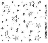handdrawn stars and moon...   Shutterstock .eps vector #747252625