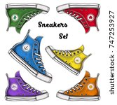 vector color canvas sneakers set | Shutterstock .eps vector #747253927