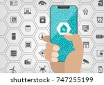 smart home automation concept... | Shutterstock .eps vector #747255199