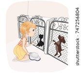 cute girl with cat vector...   Shutterstock .eps vector #747256804
