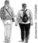 two townswomen talk on a walk | Shutterstock .eps vector #747256885