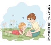 mom love mother with kids flat...   Shutterstock .eps vector #747259231