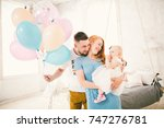 young family  moms dad and... | Shutterstock . vector #747276781