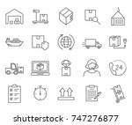 set of logistics related vector ... | Shutterstock .eps vector #747276877