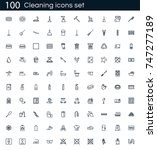 cleaning icon set with 100... | Shutterstock .eps vector #747277189
