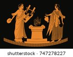 ancient greek goddess aphrodite ... | Shutterstock .eps vector #747278227