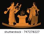 ancient greek goddess aphrodite ...   Shutterstock .eps vector #747278227