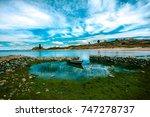 beautiful view of lake titicaca ... | Shutterstock . vector #747278737