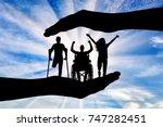 happy people with disabilities... | Shutterstock . vector #747282451