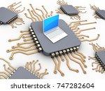 3d illustration of computer... | Shutterstock . vector #747282604