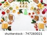 christmas appetizers... | Shutterstock . vector #747283021