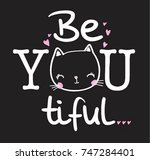 slogan graphic with cat | Shutterstock .eps vector #747284401