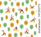 seamless park activity pattern. ... | Shutterstock .eps vector #747292771