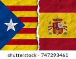 flags of spain and catalonia on ... | Shutterstock . vector #747293461