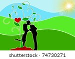silhouette of couples with a... | Shutterstock . vector #74730271