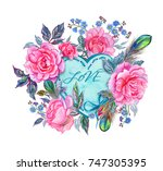 a heart shaped label with the...   Shutterstock . vector #747305395