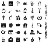 romance icons set. simple style ... | Shutterstock .eps vector #747308629