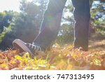 child walking and kicking fall... | Shutterstock . vector #747313495