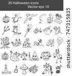 set of halloween icons doodle.... | Shutterstock .eps vector #747315835