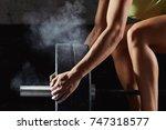 shot of a female athlete... | Shutterstock . vector #747318577
