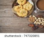 cashew nut cookies with... | Shutterstock . vector #747320851