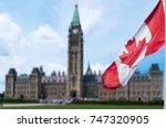canadian flag waving with... | Shutterstock . vector #747320905