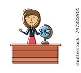teacher woman  vector... | Shutterstock .eps vector #747323905