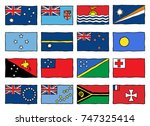 hand drawn flags of the oceania ... | Shutterstock .eps vector #747325414
