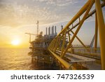 offshore construction platform...   Shutterstock . vector #747326539