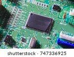 computer chip on green...   Shutterstock . vector #747336925